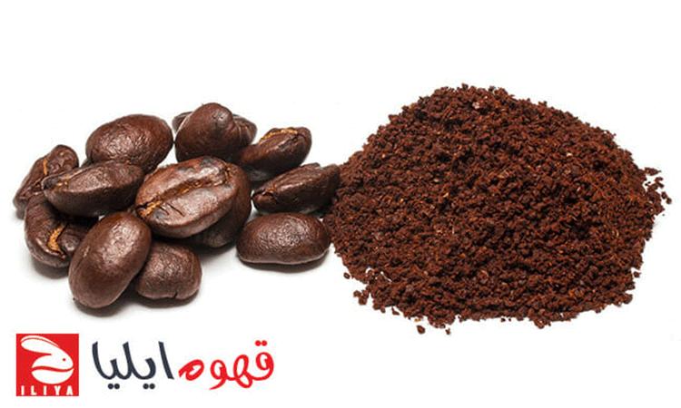 دانه قهوه و پودر قهوه