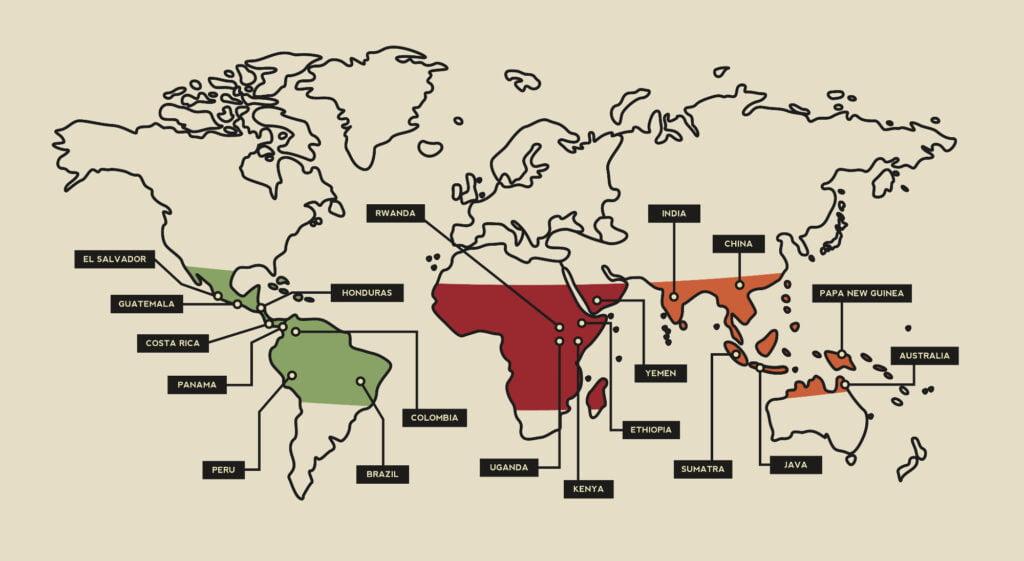 بزرگترین تولید کننده های قهوه جهان و کمربند قهوه
